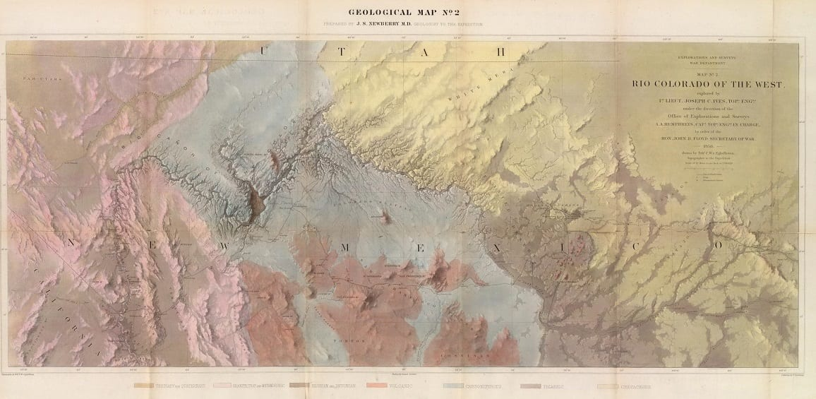 J. C. Ives. Geological Map ... Rio Colorado of the West. 1858